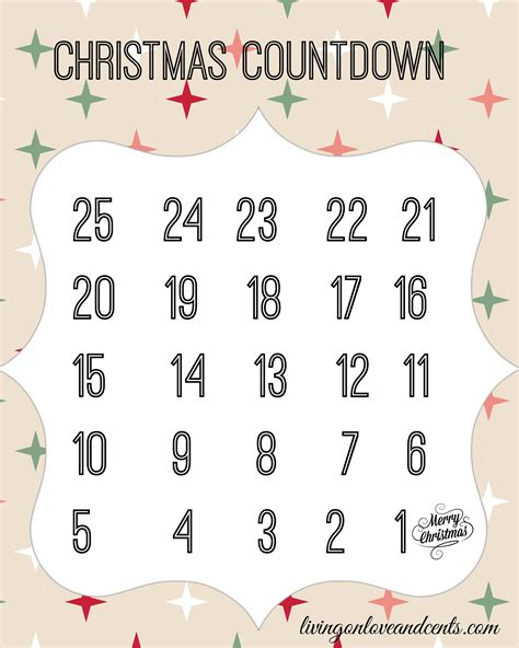 printable christmas countdown 8 best images of printable number countdown free