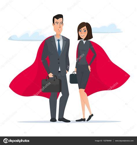 imagenes superheroes vectores superh 233 roes de hombre y mujer de negocios se encuentra