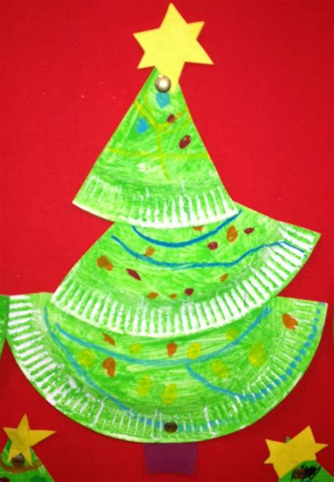 a crooked little paper plate christmas tree by the
