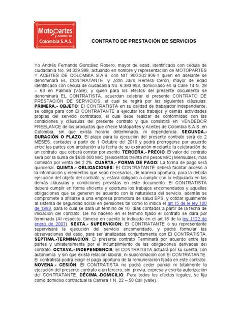 contrato de prestaci 243 n de servicios contratante municipio contrato por prestacion de servicios 1