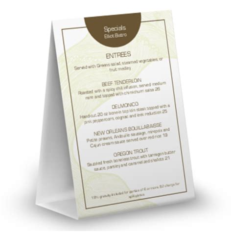Table Tents For Restaurants Musthavemenus Table Top Menu Template