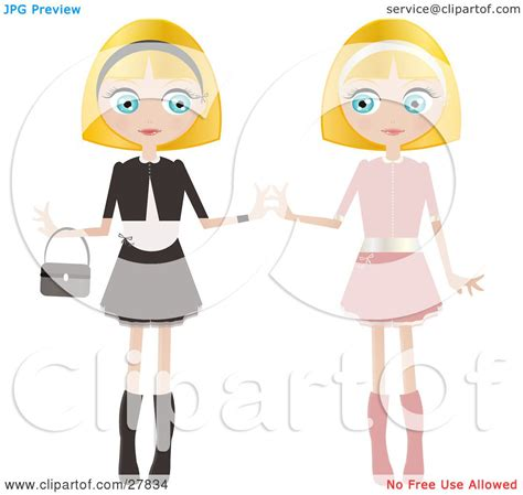 clipart illustration of two blond haired blue eyed