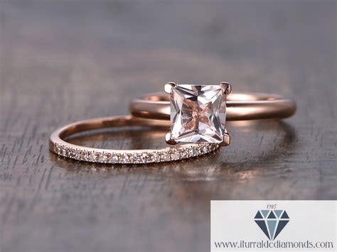 princess cut morganite engagement ring solitaire matching