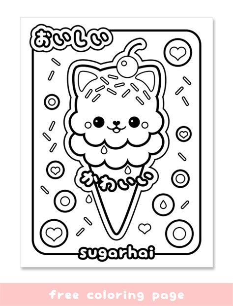 coloring pages of cute things free ice cream cat coloring page