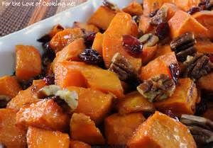 roasted yams with maple dried cranberries and pecans