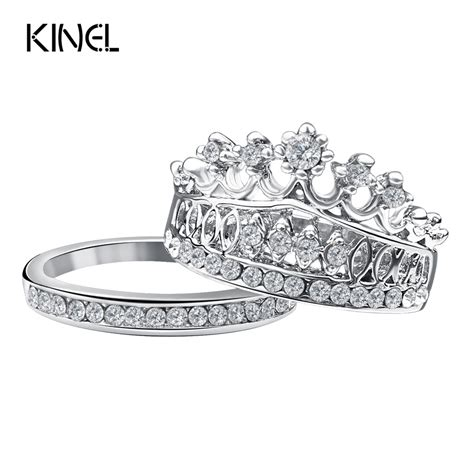 fashion 2016 crown wedding rings for silver plated