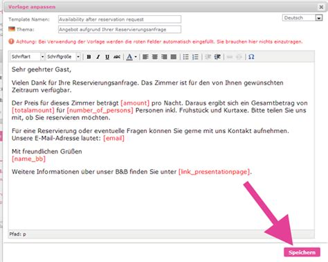 Email Template Vorlage E Mail Vorlagen Im Reservierungssystem Selbst Erstellen Bed And Breakfast Inhaber