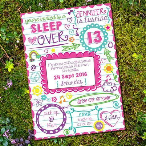 doodle calendar invites sleepover doodle invitation tween slumber