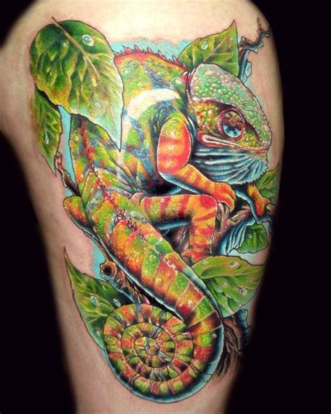 a colorful highly detailed tattoo design of a chameleon