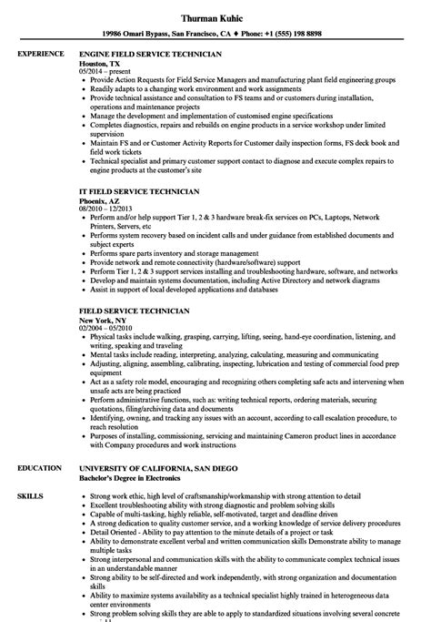 Field Technician Resume by Field Service Technician Resume Sles Velvet