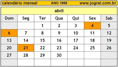 Calendario De 1969 Calend 225 Mensal Abril De 1969 Imprimir M 234 S De Abril 1969