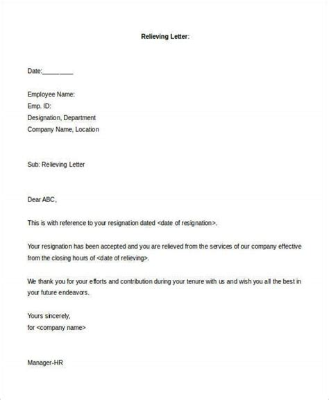 relieving letter format templates