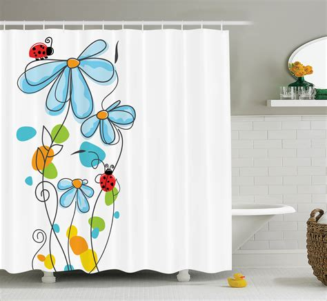 kid bathroom shower curtains shower curtain ladybugs flowers bathroom