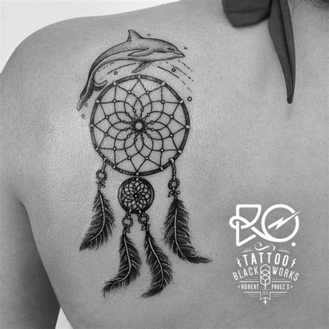 dream catcher tattoo in memory of dolphin dreamcatcher back tattoo on tattoochief com