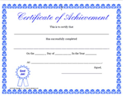 certificates of achievement templates free free printable certificate of achievement blank templates