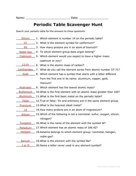 chemistry periodic table worksheet answer key answer key to the periodic table scavenger hunt worksheet