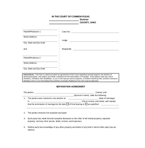 separation agreement template ontario printable separation papers printable paper