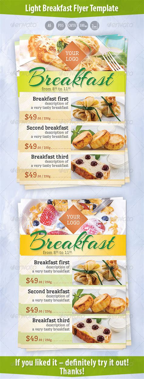 Light Breakfast Flyer Template By Kreatorr Graphicriver Breakfast Flyer Template