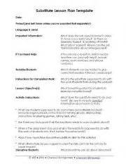 Substitute Lesson Plan Template by Worksheets Substitute Lesson Plan Template
