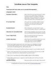 substitute lesson plans template teaching worksheets lesson plans