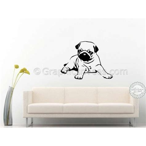 puppy wall stickers pug puppy lying wall sticker vinyl mural decal