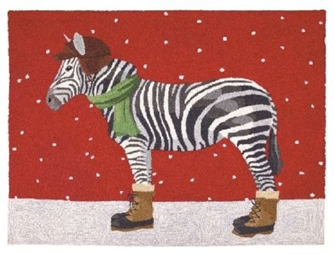 winter zebra hook rug eclectic novelty rugs by furbish