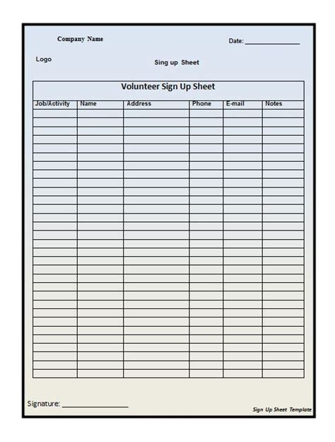 sign up sheet template excel search results for excel template for sign up sheet