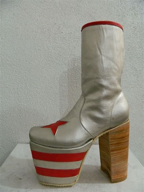 made glam platform genuine silver leather boots
