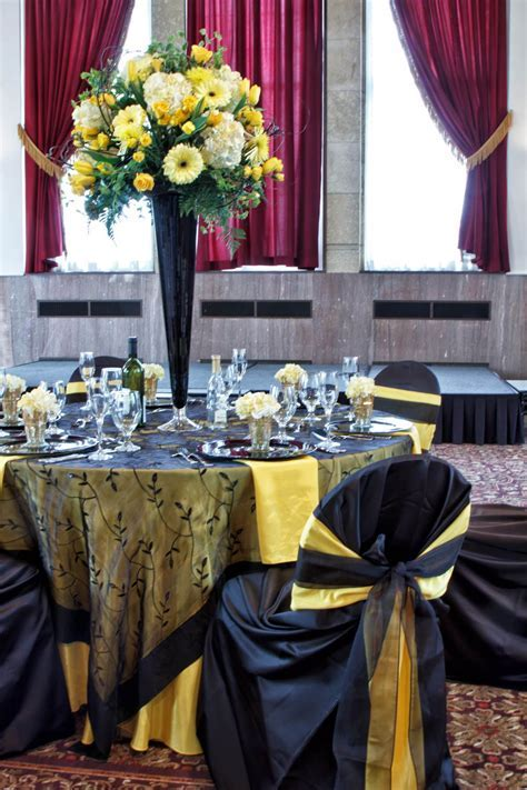 Black and yellow wedding decor. Love this, but with grey