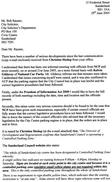 neil herron letter to sunderland city solicitor bob rayner 29th june 2005
