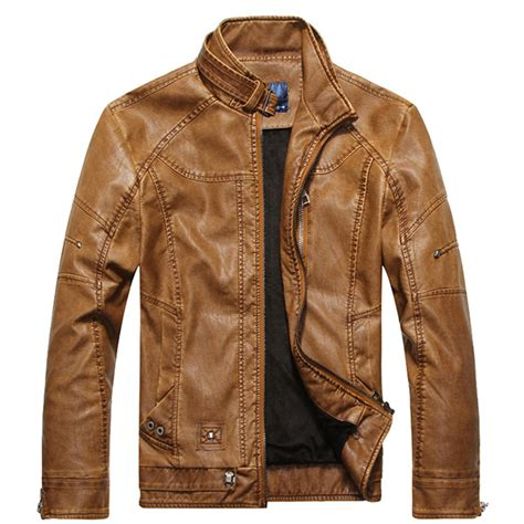 Faux Leather Stand Collar Jacket faux leather thick stand collar pu biker motorcycle