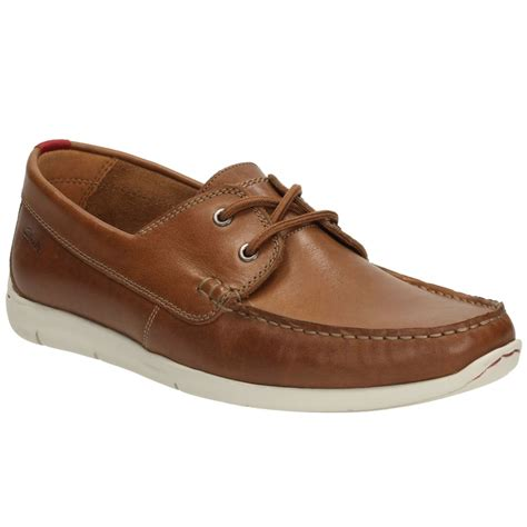 clarks boat shoes clarks mens karlock step leather boat shoes