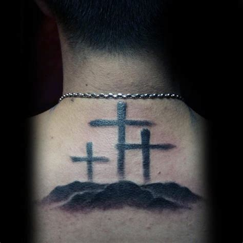 three crosses tattoo back three black crosses religious praise