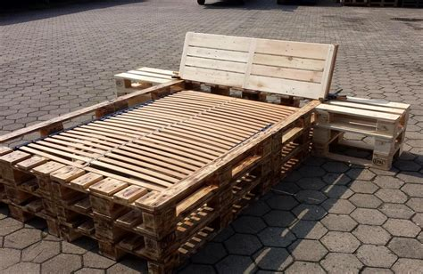 Diy Pallet Bed Frame With Nightstands Pallet Furniture Handmade Wooden Bed Frames