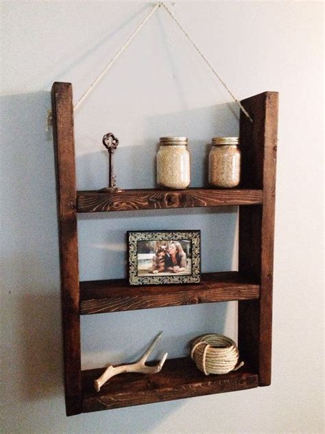 Wall Hanging Wooden Shelves Wooden Hanging Shelf W Rope Supports Wood Shelf Wooden