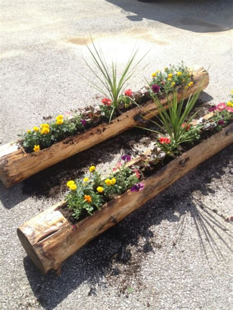 rustic diy log planters into the ether net