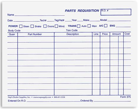 parts requisition form template parts requisition forms napsupply