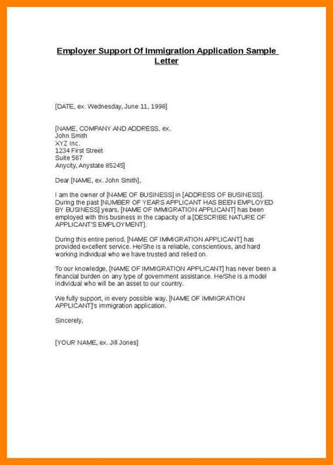Support Letter Template 6 Immigration Letters Of Support Sle Emt Resume