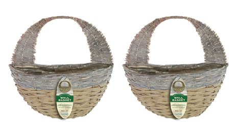 garden wall baskets set of 2 garden wall baskets 16 quot white washed two colour