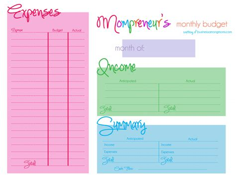 free templates for budgets budgeting for mompreneurs free printable budget template