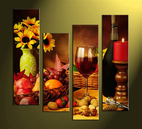 wine home decor 4 piece colorful canvas wine home decor wall art