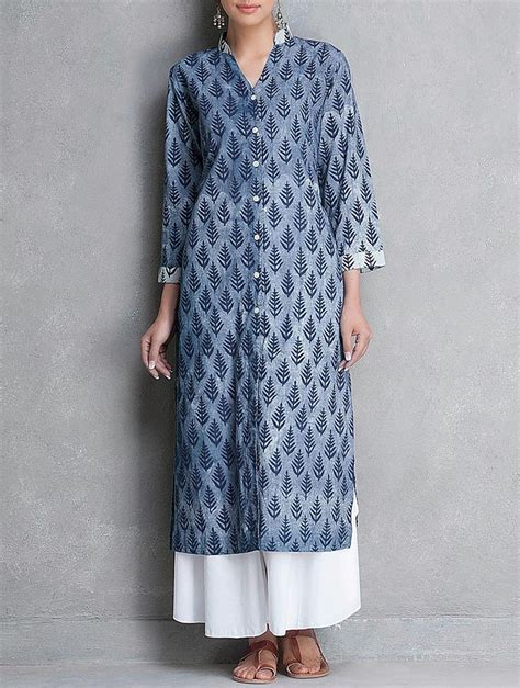 button pattern kurti buy indigo mandarin collar button down dabu printed cotton