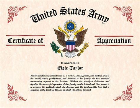army certificate of appreciation template and family certificate of appreciation
