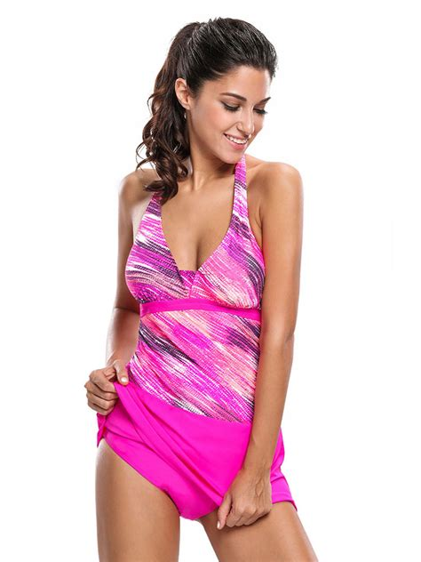 Set Tankini Printed Skirt printed halter neckline padded tankini swimsuits with skirts