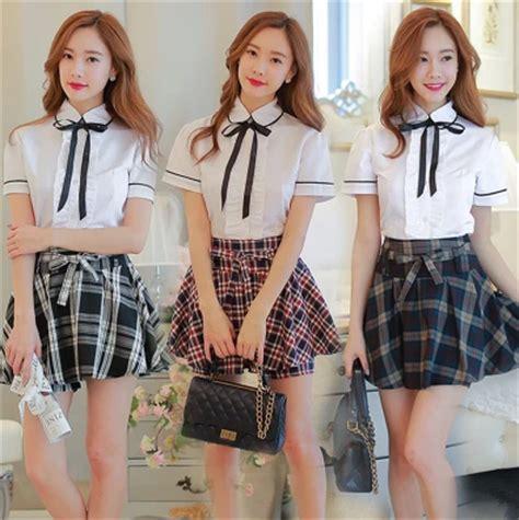 Set Nazla Mini Dress Korea korean students shirt plaid skirt two