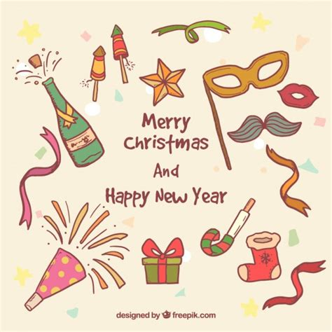 party title for christmas new year and new year elements vector free