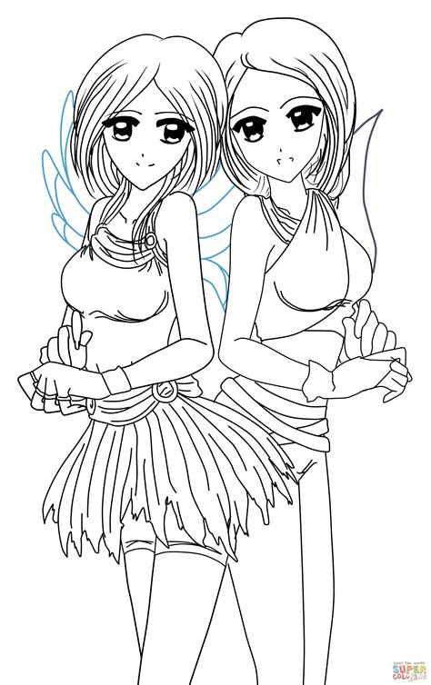 Anime Twins Yin And Yang Coloring Pages sketch template