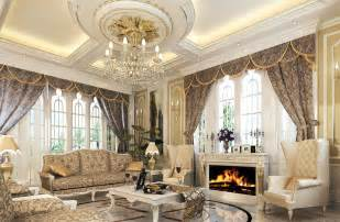 Beige Valances Luxury European Style Living Room With Fireplace