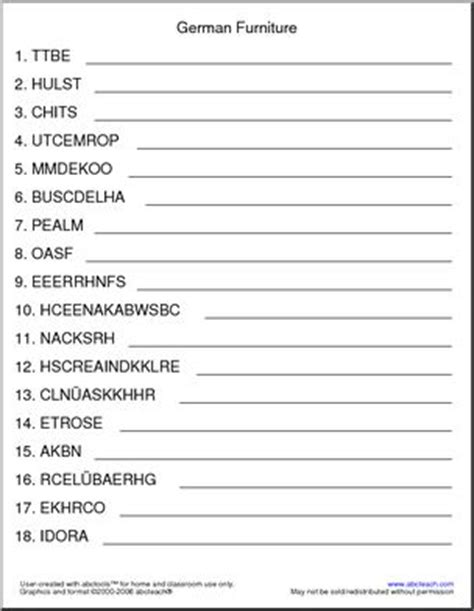 Upholstery Terms Phrases by German Unscramble The Words Furniture Abcteach