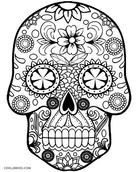 Skull Printable Coloring Pages free day of the dead skulls coloring pages